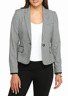 Tommy Hilfiger Mini Checkered Single Button Blazer