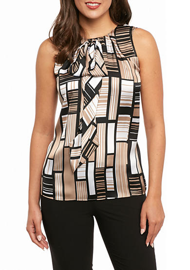 Tommy Hilfiger Printed Tie Neck Blouse