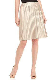 Tommy Hilfiger Gold Metallic Pleated Skirt