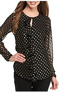 Tommy Hilfiger Dotted Ruffle Front Blouse