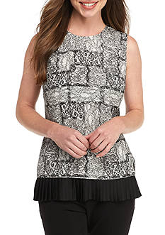 Tommy Hilfiger Sleeveless Lace Print Blouse With Pleated Hem
