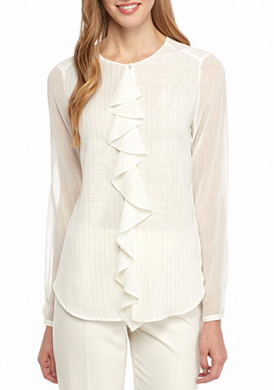 Tommy Hilfiger Ruffle Front Lurex® Stripe Blouse
