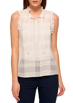 Tommy Hilfiger Sleeveless Lace Textured Dot Blouse with Tie-Neck