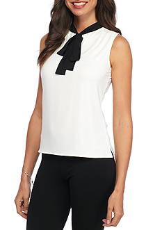 Tommy Hilfiger Sleeveless Top With Contrast Tie Neck