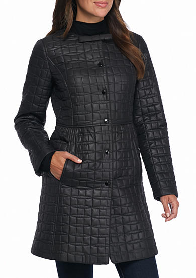 kate spade new york® Jewel Neckline Quilted Coat