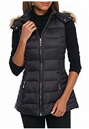 kate spade new york® Vest with Faux Fur Hood