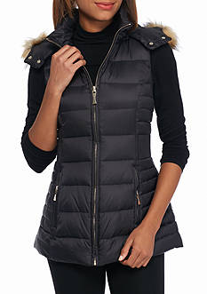 kate spade new york Vest with Faux Fur Hood