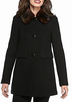 kate spade new york Faux Fur Flip Pocket Pea Coat