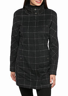 Lucky Brand Plaid Zip Window Pane Wool Coat