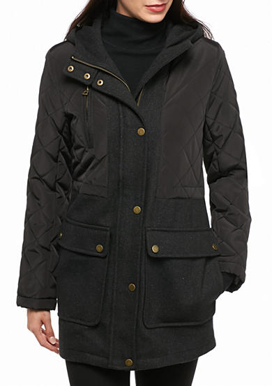 Lucky Brand Mixed Media With Hood Anorak Coat