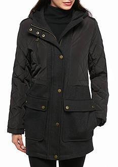 Lucky Brand Mixed Media With Hood Anorak Coat