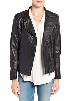 Badgley Mischka Hayden Leather Asymmetrical Zip Jacket