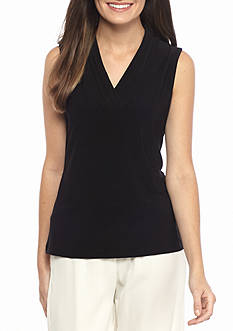 Anne Klein Jersey V Neck Knit Top