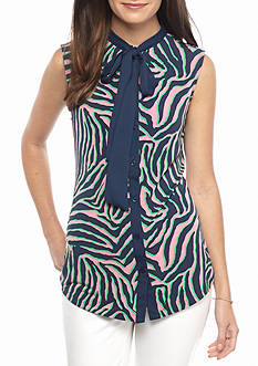 Anne Klein Printed Bow Blouse