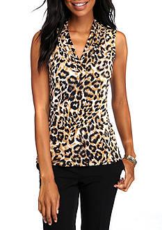 Anne Klein Leopard Print Jersey Knit Top
