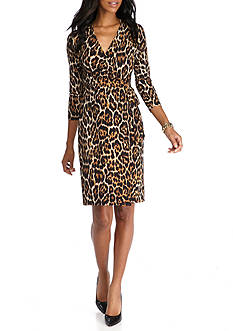 Anne Klein Leopard Print Faux Wrap Dress