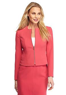 Anne Klein Solid Zip Front Jacket