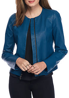 Anne Klein Suit Zip Front Leather Jacket