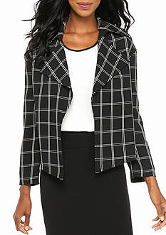 Anne Klein Windowpane Open Front Jacket