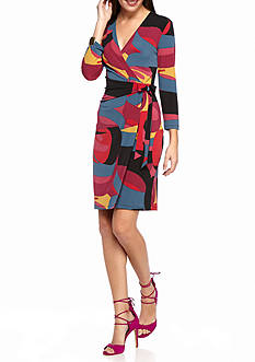 Anne Klein Suit Printed Faux Wrap Dress