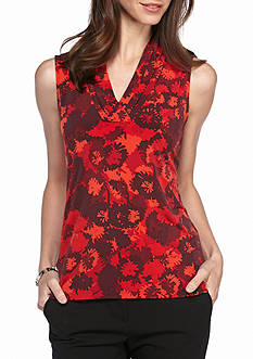 Anne Klein Print V Neck Top