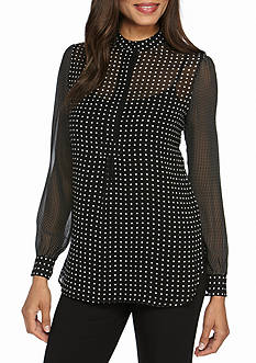 Anne Klein Long Sleeve Dot Print Blouse