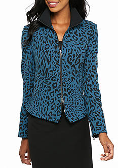 Anne Klein Print Zipper Front Jacket