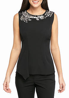 Anne Klein Sleeveless Cascading Embroidered Blouse