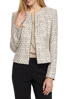 Anne Klein Tweed Zip Front Jacket