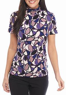 Anne Klein Print Short Sleeve Jersey Knit Top