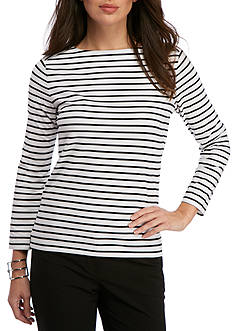 Anne Klein Striped Three Quarter Length Sleeve Tee