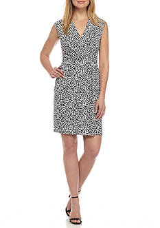 Anne Klein Printed Cap Sleeve Wrap Dress