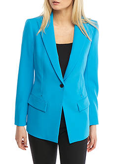 Anne Klein One-Button Long Crepe Jacket