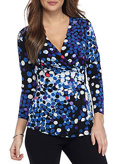Anne Klein Three-Quarter Sleeve Wrap Top