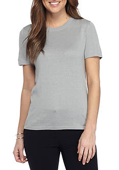 Anne Klein Short Sleeve Solid Sweater Tee