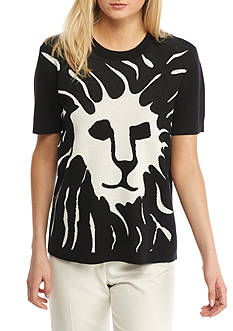 Anne Klein Lion Face Short Sleeve Sweater