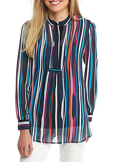 Anne Klein Long Sleeve Vertical Stripe Blouse