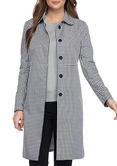 Anne Klein Gingham Long Coat