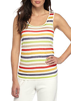 Anne Klein Striped Sleeveless Sweater Tank