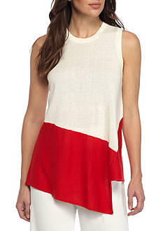 Anne Klein Asymmetrical Hem Colorblock Sweater