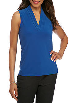 Anne Klein Solid Triple Pleated Cami