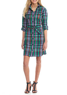 Anne Klein Plaid Shirt Dress