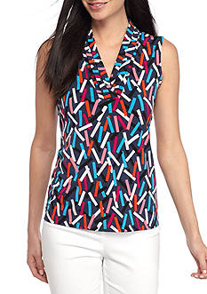 Anne Klein Triple Pleated Print Top