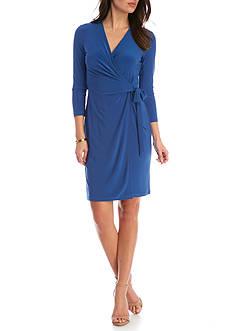 Anne Klein Three Quarter Length Sleeve Wrap Dress