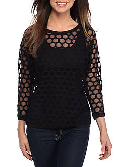 Anne Klein Mesh Dot Lace Top