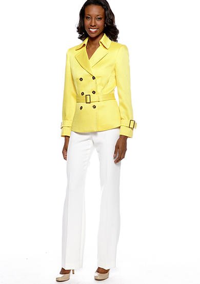 TAHARI™ Double Breasted Hopsack Pant Suit