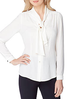 Tahari ASL Long-Sleeve Bow Blouse
