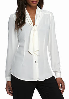 Tahari Long Sleeve Bow Blouse