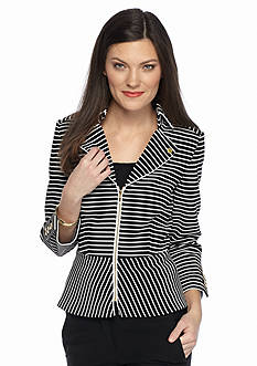 Tahari ASL Stripe Zip Front Knit Jacket