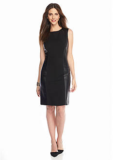 Tahari ASL Ponte Knit Dress with Faux Leather Trim